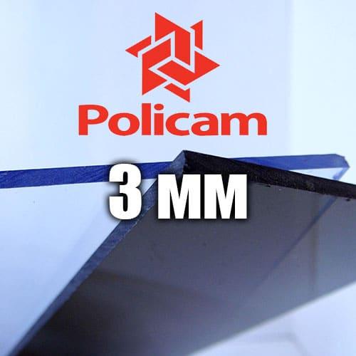 Лист прозорого монолітного полікарбонату 2.05х3.05м (POLICAM), 3мм