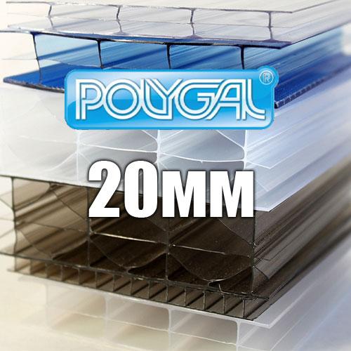 Лист стільникового полікарбонату прозорого (POLYGAL), 20 мм