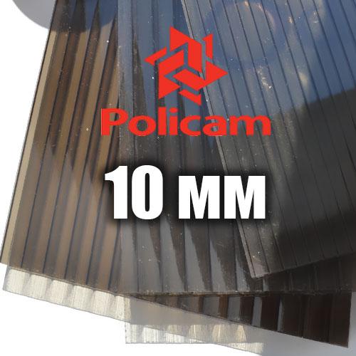 Лист бронзового стільникового полікарбонату 2.1х6м (POLICAM), 10мм