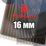Лист бронзового стільникового полікарбонату 2.1х6м (POLICAM), 16мм