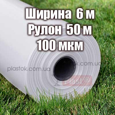 Пленка прозрачная (высший сорт) 6м ширина, 50м длина, 100мкм