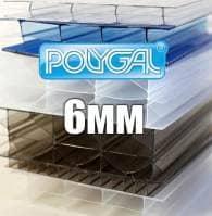 Лист стільникового полікарбонату прозорого  (POLYGAL), 6 мм